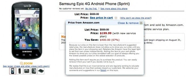 Samsung Epic 4G Available for $199 on Amazon