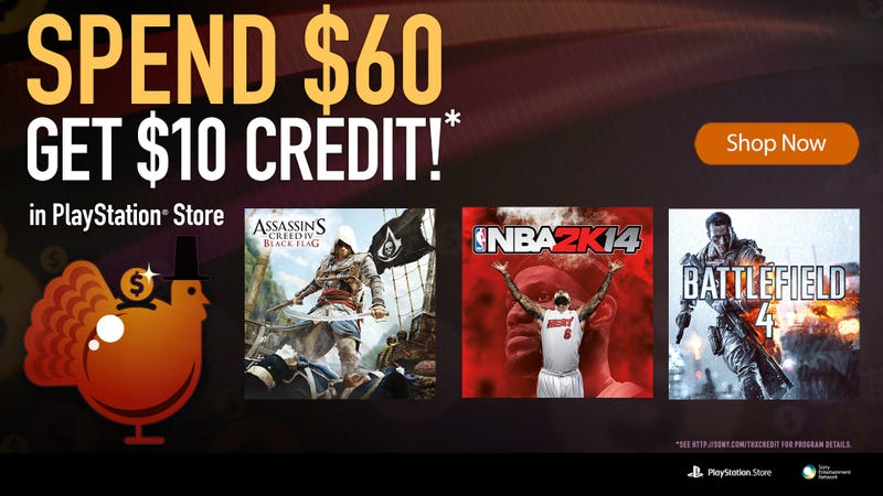 Spend $60 and Get $10 Credit at the PlayStation Store
