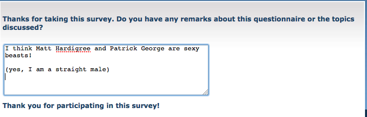 OK, survey completed.