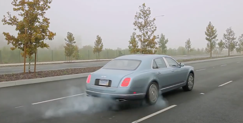 The Bentley Mulsanne... a Classy Locomotive Burnout Machine