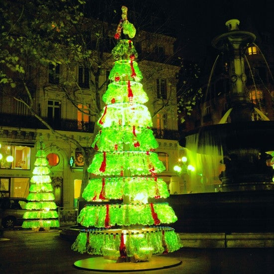A Christmas Tree Made From Recycled Bottles Looks Great