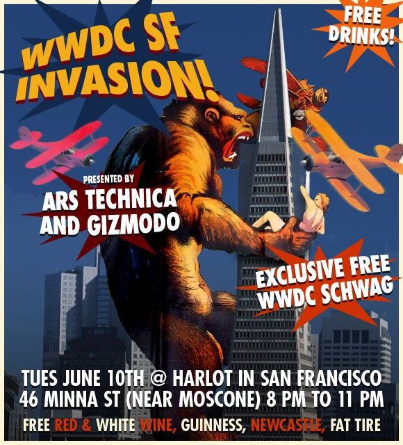 Tonight: Have a Drink on Giz and Ars Technica at WWDC 2008