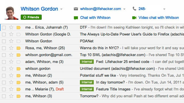 Gmail Adds Contacts to Its Search Bar, Makes Emailing, Calling, and IMing a Snap