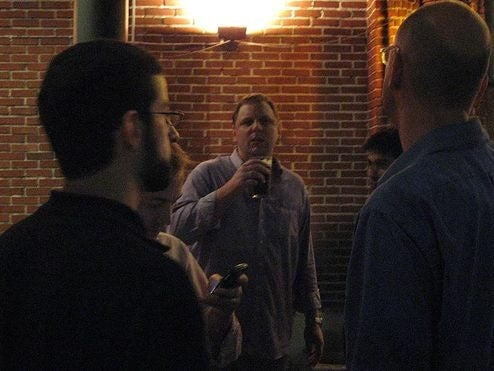 Michael Arrington drinks Valleywag's milkshake at TechCrunch meetup