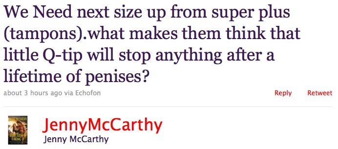 Jenny McCarthy Wants Bigger Tampons