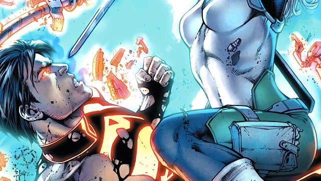 In this preview of Superboy, the Clone of Steel battles Deathstroke's daughter!