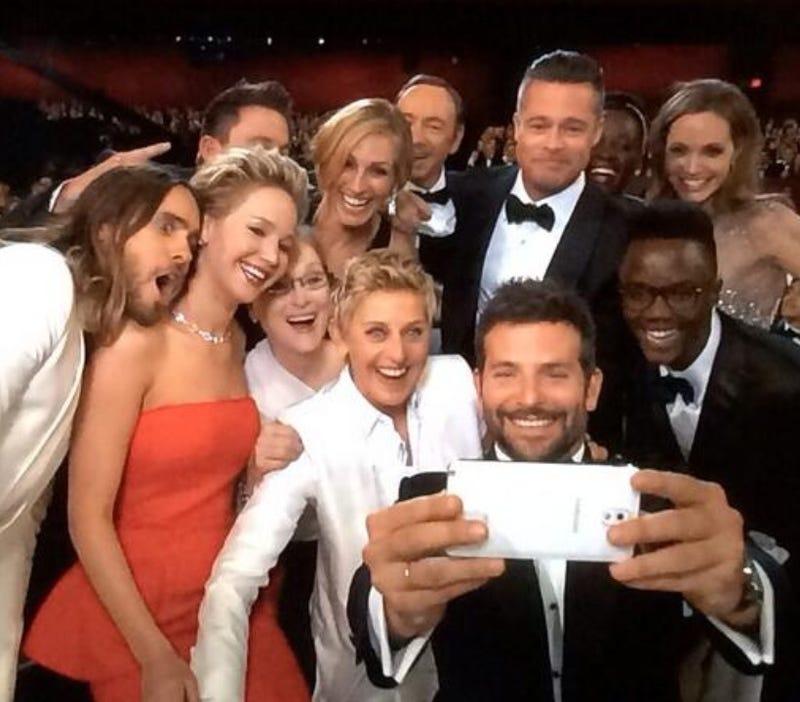Oscar selfie, front & back