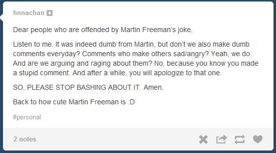 The Second Stain: Martin Freeman's Rape Joke Apologists