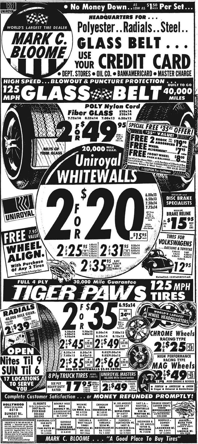 It's 1969, And You Need Some 7.75x14 Whitewalls For The Buick!