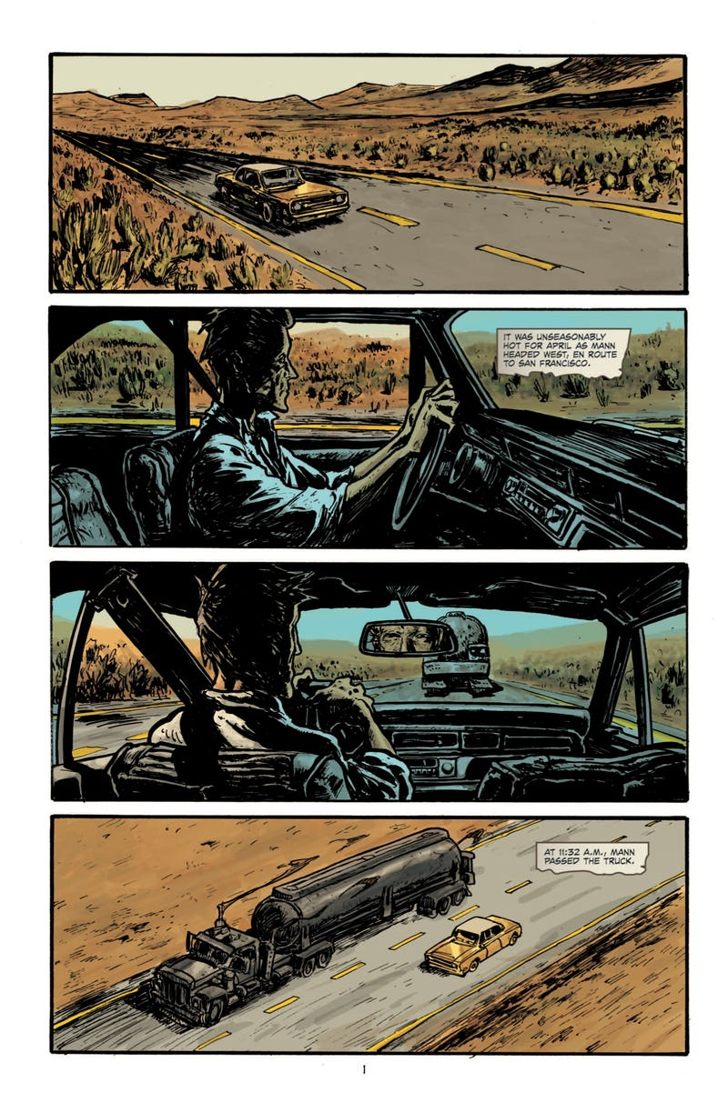 Read a sneak preview of the comic adaptation of the crazy trucker tale Duel