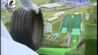 Rolling Tires down a Ski Jump