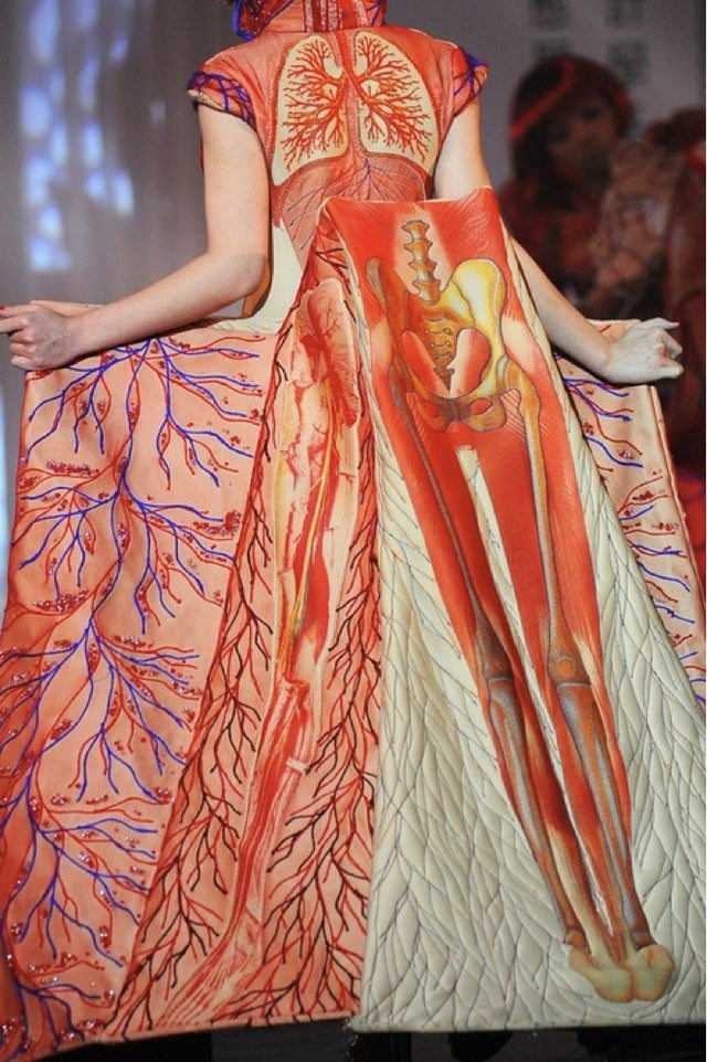 Check out flowing gowns of human organs and skirts made of skeletons
