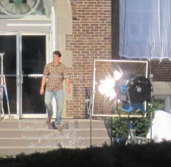 Man of Steel Set Picture — Henry Cavill as Clark Kent