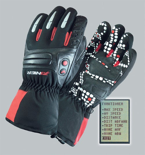GPS Ski Gloves Place the Display On the Tip Of Your Thumb