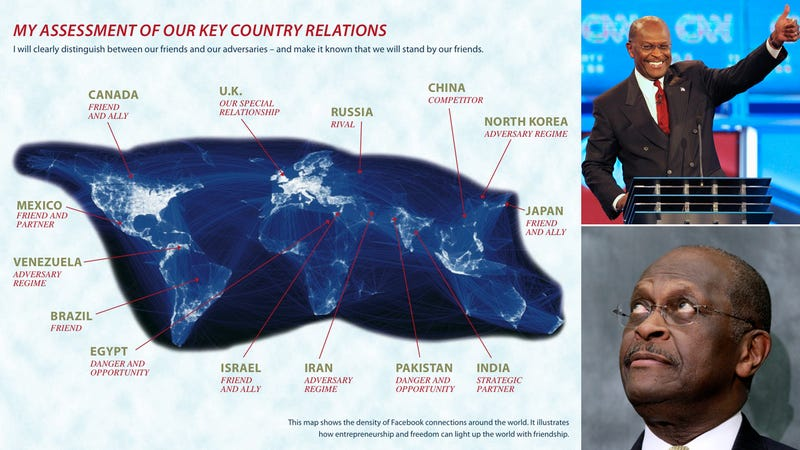 Here's Herman Cain's Hilariously Stupid Facebook Foreign Policy Map