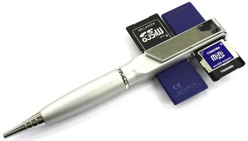 Pen Reads Four SD Cards While Looking a Bit Like a Rocket