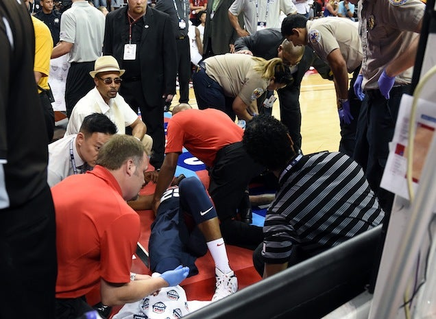Paul George Breaks His Leg Horrifically In Team USA Scrimmage [GRAPHIC]