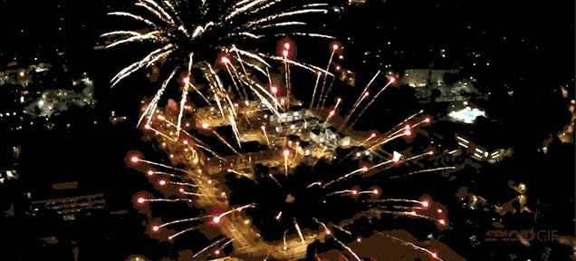 Fireworks in reverse look even cooler from a drone