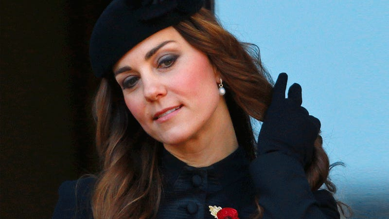 Fly Girl Kate Middleton Attempts to Get Hair On Point at Somber Event