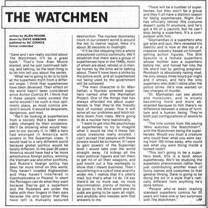 Alan Moore's 1985 interview about Watchmen gave no inkling it'd be a smash hit
