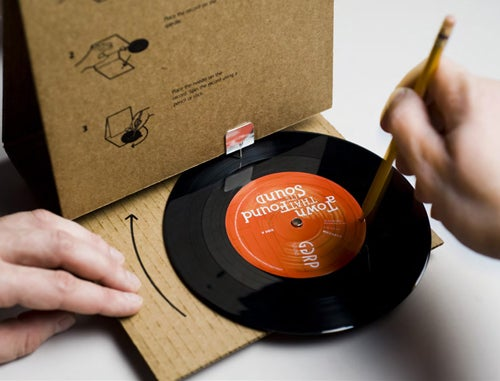 Cardboard Record Sleeve Doubles as Record Player