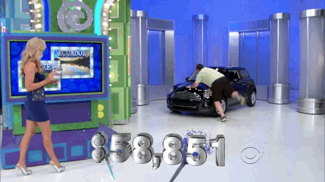 Man Guesses Showcase Price Within $244, Belly Flops On Car