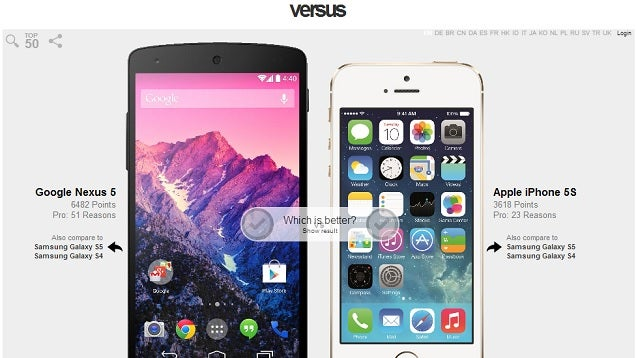 Versus Compares Tech Side by Side