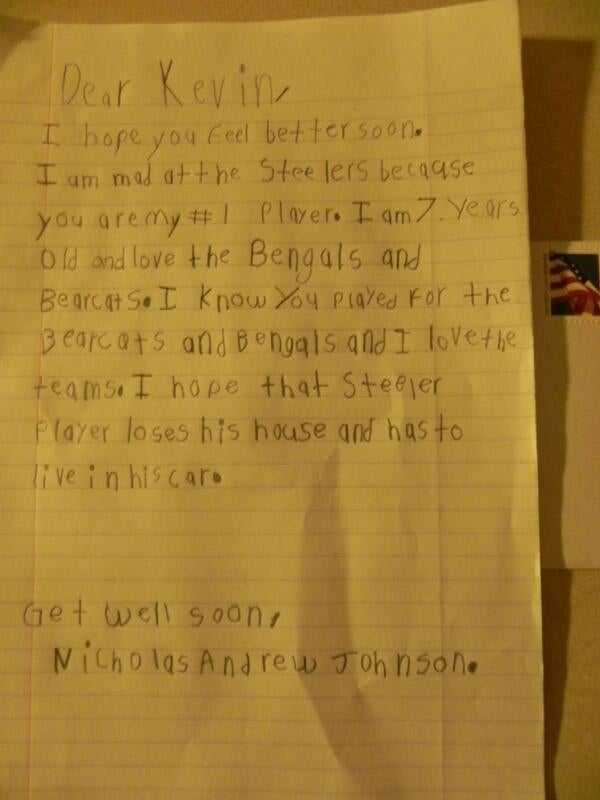 Seven-Year-Old Writes Supportive Letter To Injured Bengals Punter