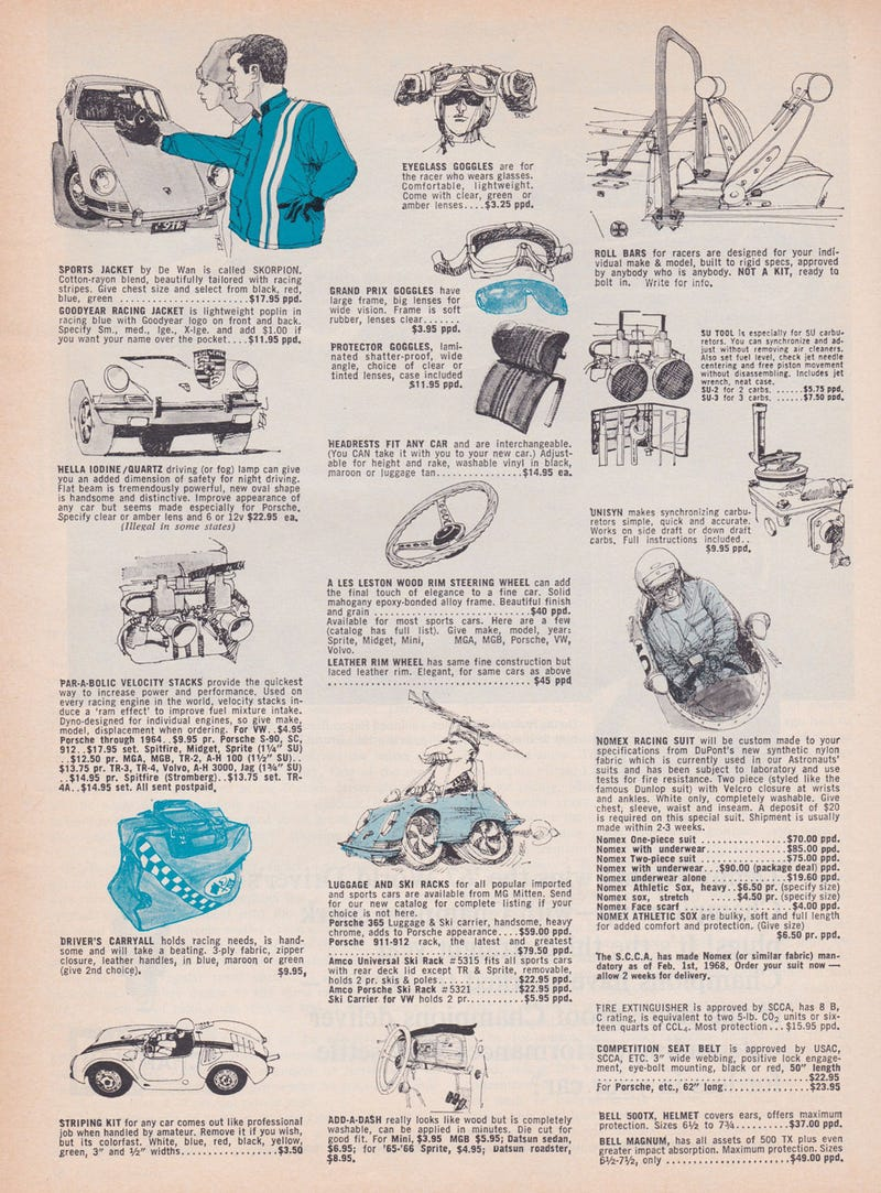 Just Look At These Lovely Illustrations From a 1968 Ad For Car Accessories