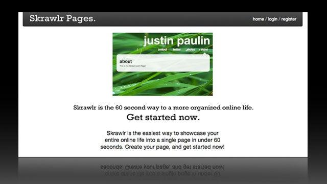 Skrawlr is a Simple, Free Personal Landing Page Creator