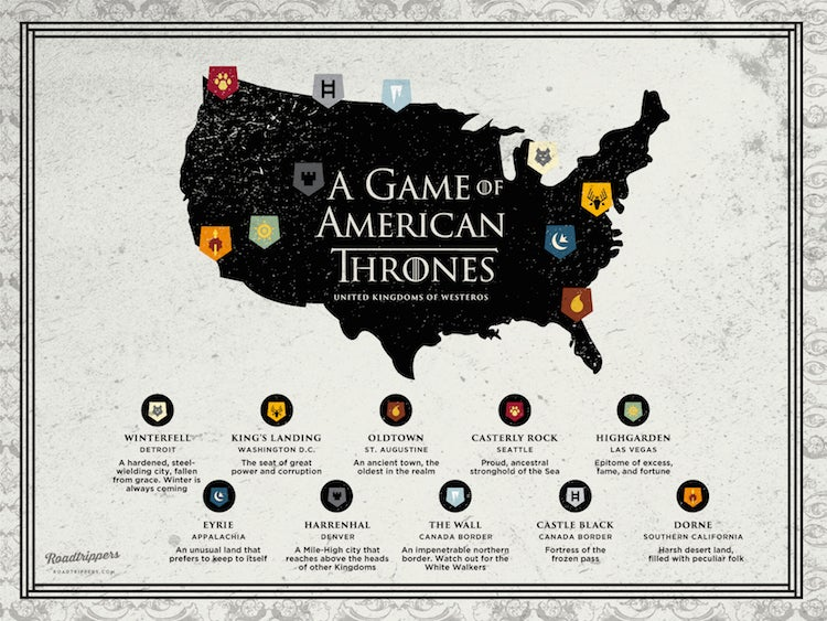 A map of Game of Thrones if it was set in the USA