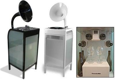 CucumberLab Sound Machine Vinyl/MP3/CD Player + Wine Rack