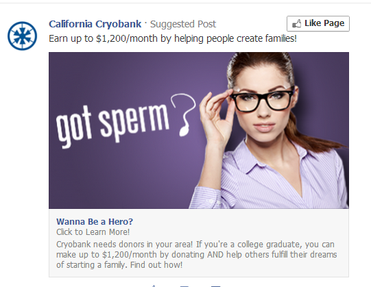 Any males got any sperm to give? Facebook wants to know!