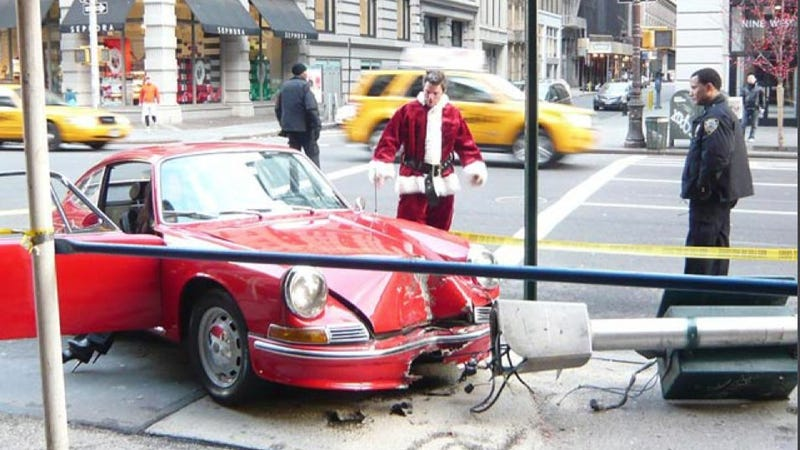 Why did Santa crash his vintage Porsche on 5th Avenue?
