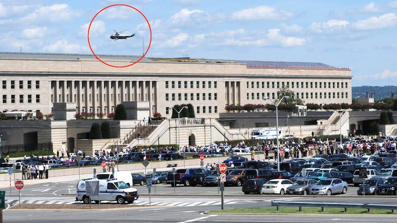 The President's Helicopter Rises over Quake-Evacuated Pentagon