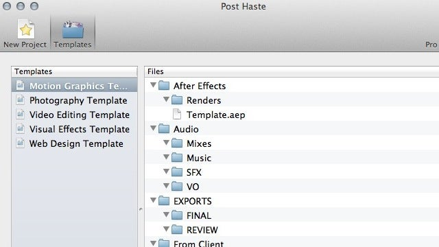 Post Haste Instantly Creates Project-Based Template Folders