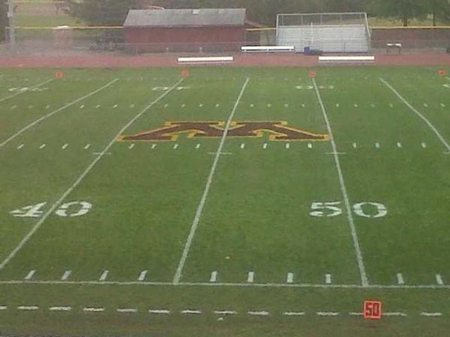 Some College In Minnesota Painted Its Midfield Logo On The Wrong Yard Line