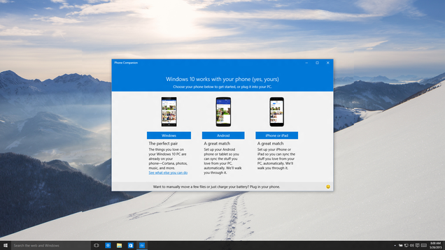 Cómo funcionará Windows 10 conectado con tu Android o iPhone