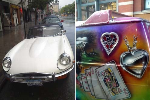 Jaguar E Type, Custom Van Coexist Peacefully Down On The NYC Street