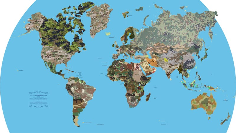 Map shows what each country's military camouflage pattern looks like