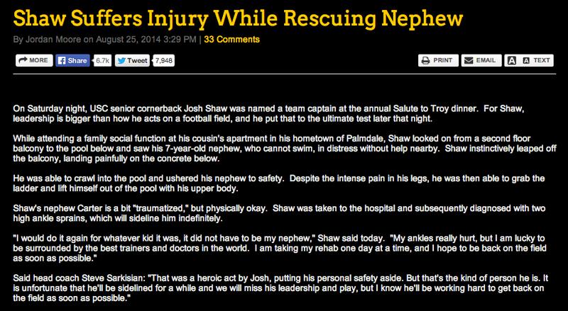 USC: Josh Shaw Admits He Made Up Drowning Nephew Story