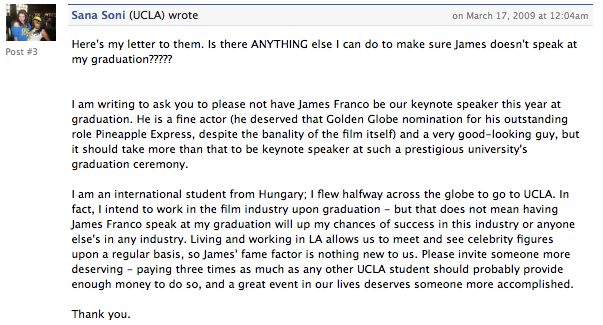 UCLA Students: James Franco Is an Academic Lightweight