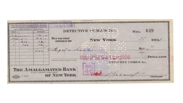 Here Is the Check That Created Superman and Changed Comic Books Forever