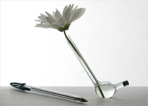 Hand-Blown BIC Pen Vase Holds a Single Daisy, Is Totally Not For Smoking Weed
