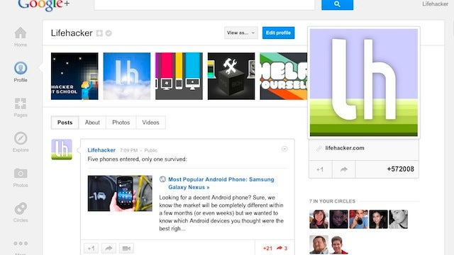 Add Lifehacker and Our Writers to Your Circles on Google+ for Our Top Posts and Plenty of Conversation
