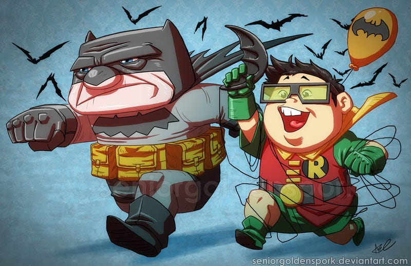 Up's odd couple trades balloons for Batman's cape and cowl