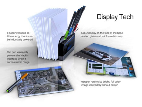 Napkin PC Concept Utilizes Multi-Touch E-Paper Display and RF Technology
