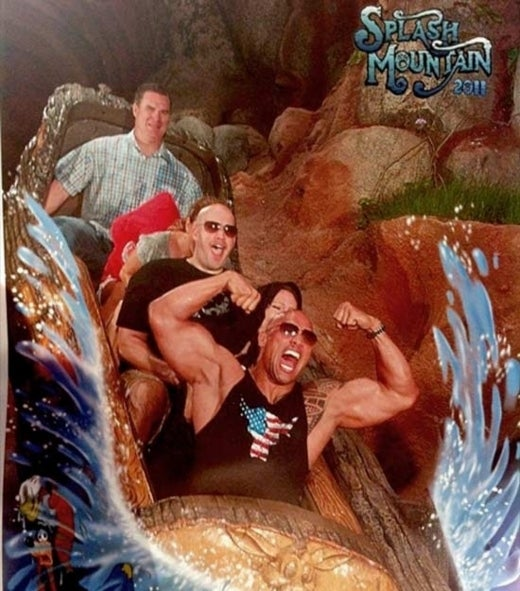 "Here's A Picture Of Dwayne ""The Rock"" Johnson Riding A Log Flume, Flexing"