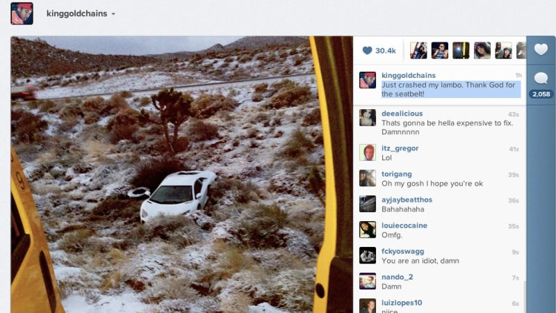 Rapper Tyga Destroys His Lamborghini Then Tweets About It