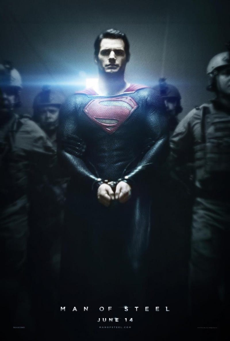 Man of Steel poster imprisons Superman in handcuffs and lens flare